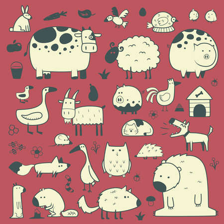domestic and forest animals Vector