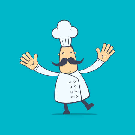 joking: chef in various poses for use in advertising, presentations, brochures, blogs, documents and forms, etc.