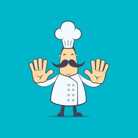 baile caricatura: chef en varias poses para su uso en publicidad, presentaciones, folletos, blogs, documentos y formularios, etc Vectores