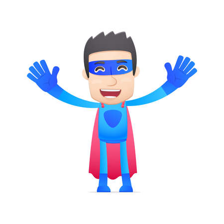 joking: superhero in various poses for use in advertising, presentations, brochures, blogs, documents and forms, etc.