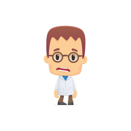 scientist. in various poses for use in advertising, presentations, brochures, blogs, documents and forms, etc. Иллюстрация