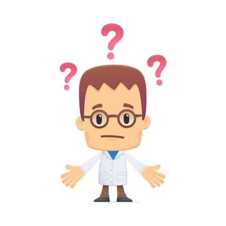 thinker: scientist. in various poses for use in advertising, presentations, brochures, blogs, documents and forms, etc. Illustration