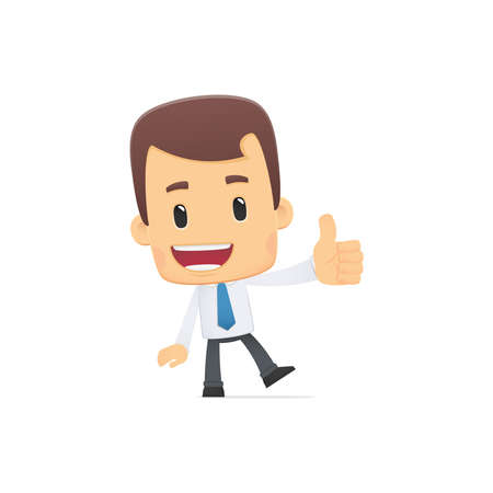 man thumbs up: manager in various poses for use in advertising, presentations, brochures, blogs, documents and forms, etc. Illustration