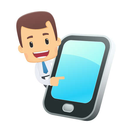 mobile cartoon: manager in various poses for use in advertising, presentations, brochures, blogs, documents and forms, etc. Illustration