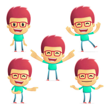 joking: casual man in various poses  Illustration