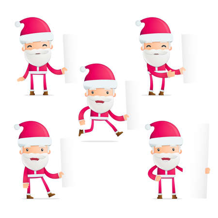 Santa in various poses  Vector