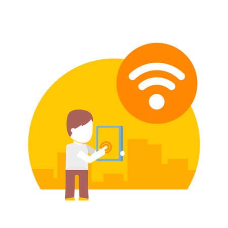 fi: man uses wi fi on his tablet