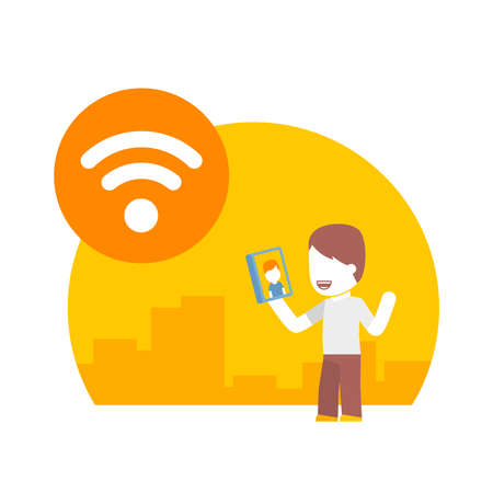 wi: man communicate with one another using the free wi fi