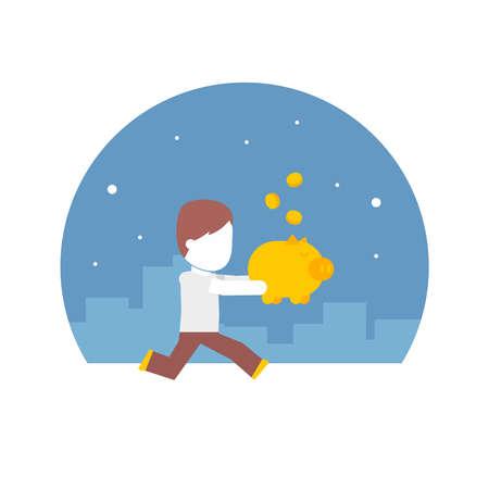 bank deposit: man running with a piggy bank full of money