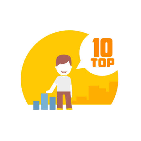 top rated: man viewing top 10. flat design concept