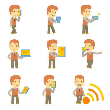 urban character set in different poses. simple flat design. Stock Vector - 24427756
