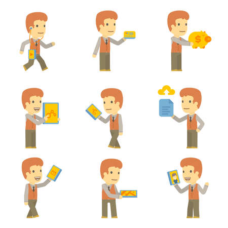 urban character set in different poses. simple flat design. Stock Vector - 24427764