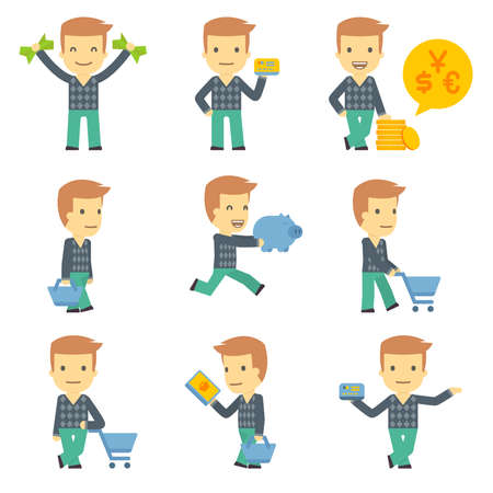 internet store: urban character set in different poses. simple flat design.