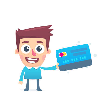 accepting: Here accepting plastic card Illustration