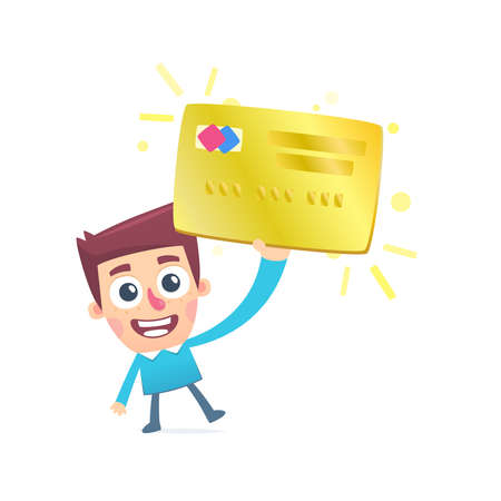 holding credit card: Happy owner of a gold plastic card