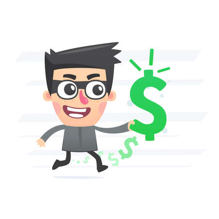 Robber with stolen money Stock Vector - 25256719