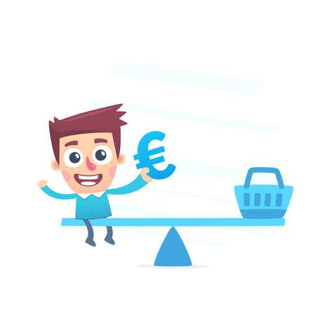 waste money: Balanced waste of money Illustration