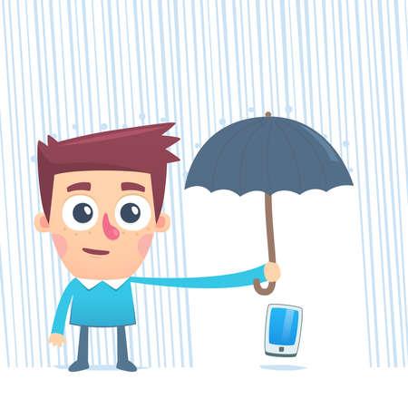 careful: Careful use of smartphone Illustration