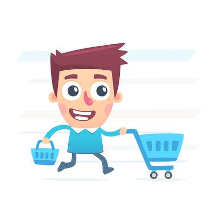 shopping cart: Big plans for shopping Illustration