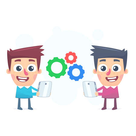 vocational training: Working with mobile devices Illustration