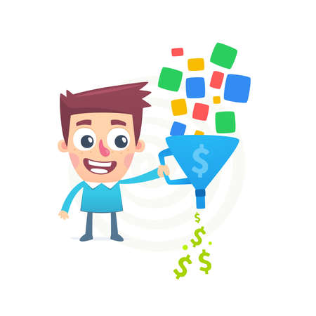 funnel: Way to earn money Illustration