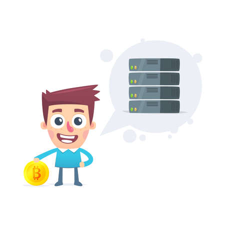 cryptography: bitcoin mining Illustration