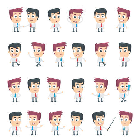 angry cartoon: set of dialog poses of two business characters Illustration