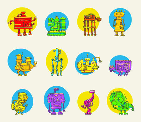 Big set of color funny doodle robots for design Stock Vector - 28877571