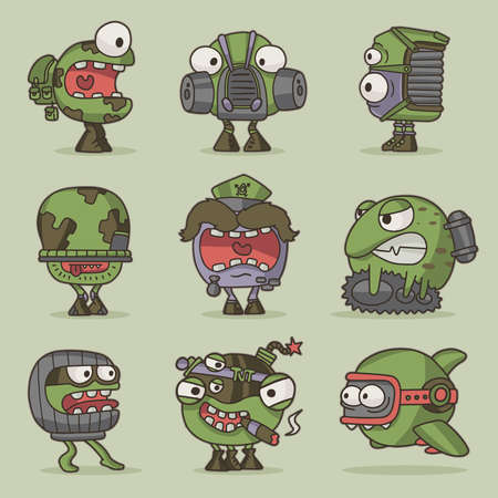 set of funny cartoon game characters for design Illustration