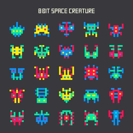 Sada 8-bitové hry barev vesmírných monster Ilustrace