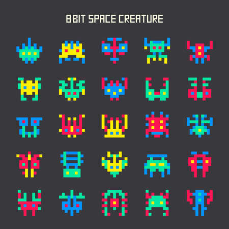 set of 8-bit game color space monsters
