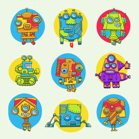 robot face: set of funny cartoon game characters for design Illustration