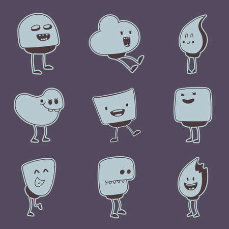 set of doodle funny monsters for design Vector