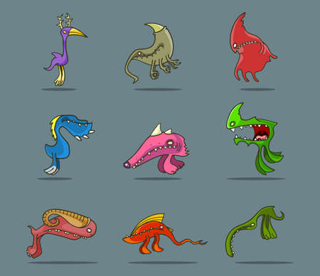 set of funny cartoon funny monsters for design Vector