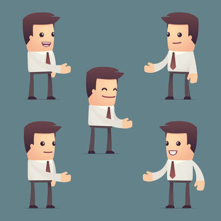 set of simple universal characters in different poses. manager. Use the character in dialog poses with other characters from this series Vector