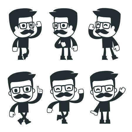 different independent and interactive hipster poses
