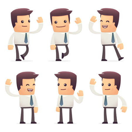 wave hello: set of manager character in different interactive  poses