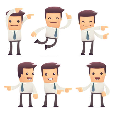 a bank employee: set of manager character in different interactive  poses