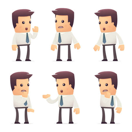 whispering: set of manager character in different interactive  poses