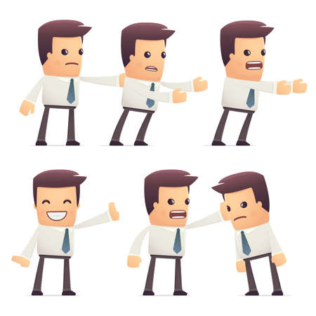 brokers: set of manager character in different interactive  poses