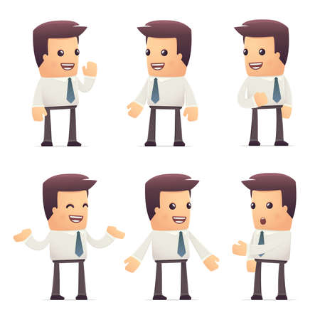 sociologist: set of manager character in different interactive  poses
