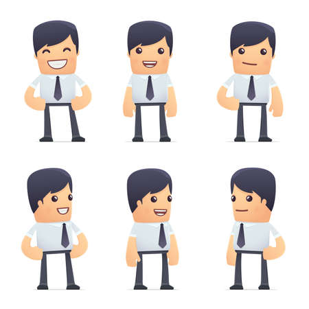 manager cartoon: set of businessman character in different interactive  poses