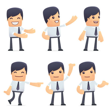 instructor: set of businessman character in different interactive  poses