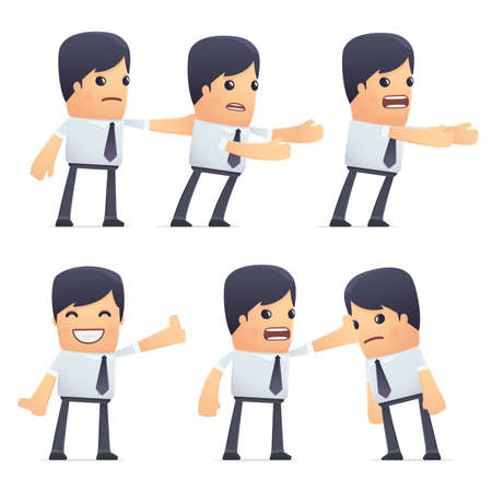 embargo: set of businessman character in different interactive  poses