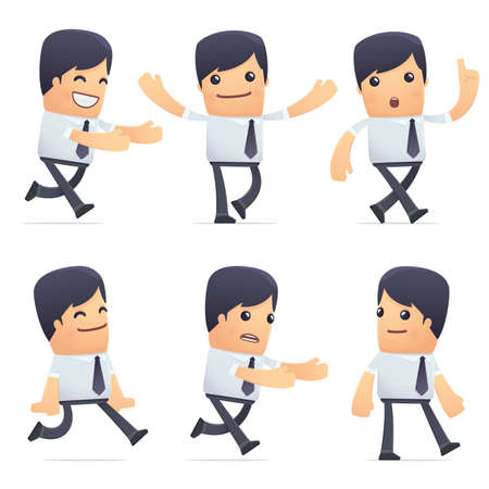 set of businessman character in different interactive  poses Vector