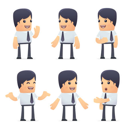 set of businessman: set of businessman character in different interactive  poses