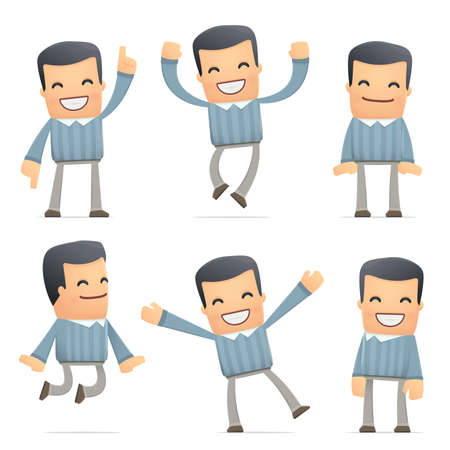joking: set of customer character in different interactive  poses Illustration