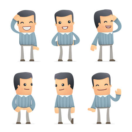 discomfiture: set of customer character in different interactive  poses Illustration