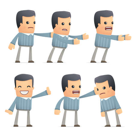embargo: set of customer character in different interactive  poses Illustration