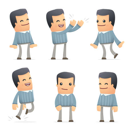 set of customer character in different interactive  poses Vector